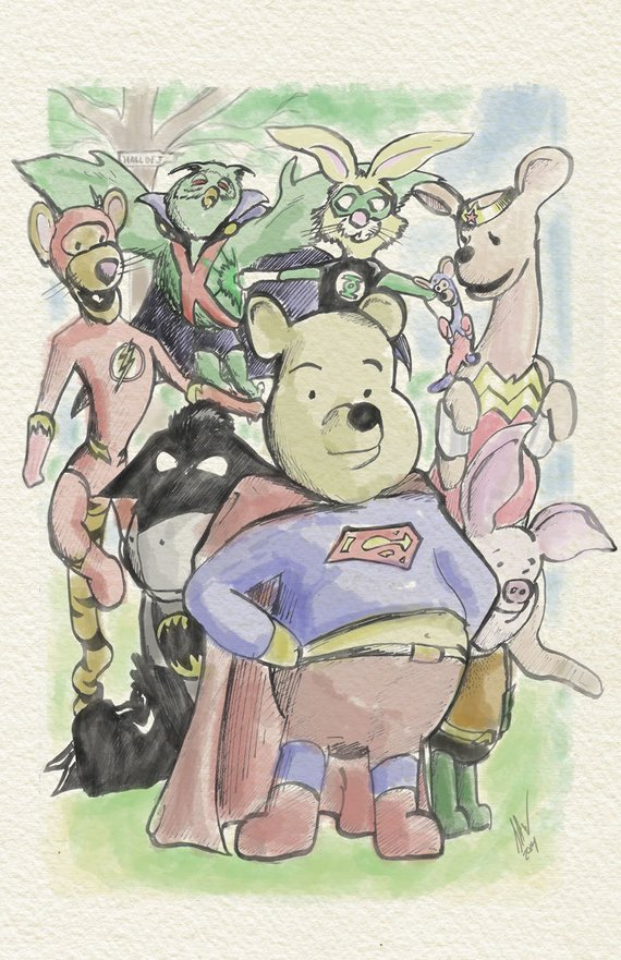 Winnie the Pooh and friends as the Justice League